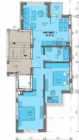 апартамент, първи етаж, тристаен, Банишора