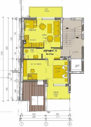 апартамент, пети етаж, двустаен, Банишора
