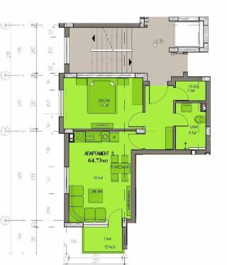 апартамент, втори етаж, двустаен, Банишора