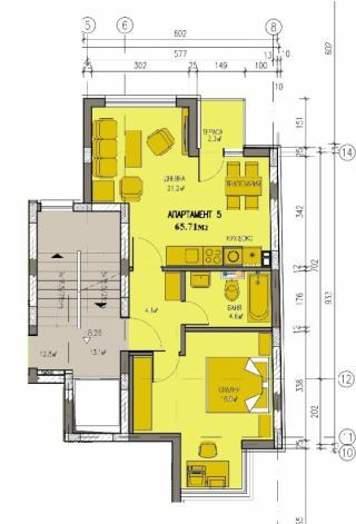 апартамент, трети етаж, двустаен, Банишора