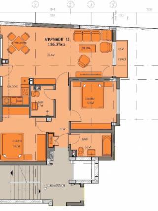 апартамент, четвърти етаж, тристаен, Банишора