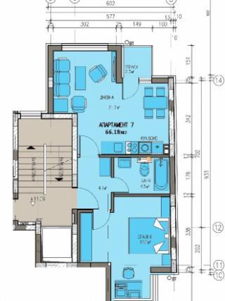 апартамент, четвърти етаж, двустаен, Банишора